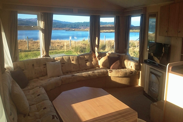 Views from Self catering caravans on shore of Arivegaig Bay, Ardnamurchan Scotland