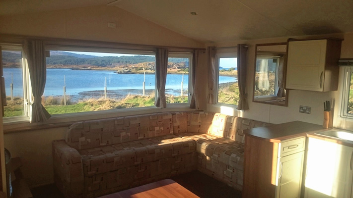 Livingroom and kitchen in Self catering caravan 2 on shore of Arivegaig Bay, Ardnamurchan Scotland