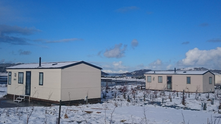 Caravans in winter, Ardnamurchan Scotland