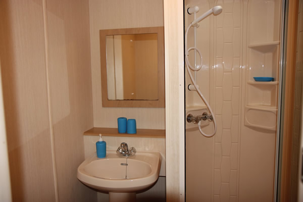 Shower room in Self catering caravan 3 on shore of Arivegaig Bay, Ardnamurchan Scotland