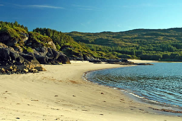 The Singing Sands, lovely walk from Self catering caravans on shore of Arivegaig Bay, Ardnamurchan Scotland