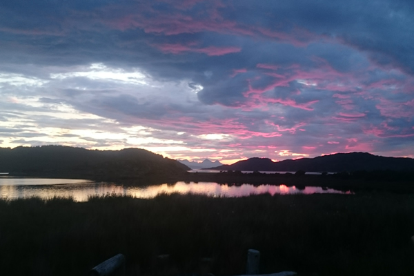 Sunset views from Self catering caravans on shore of Arivegaig Bay, Ardnamurchan Scotland